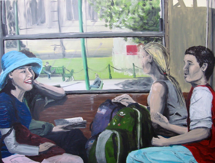 Tram, Melbourne 2005, Oil on board 90 x 120cm