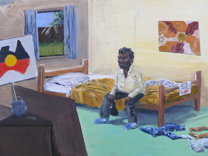 Untitled (Man Looking at Sign) 2007, oil on board 90 x 120cm