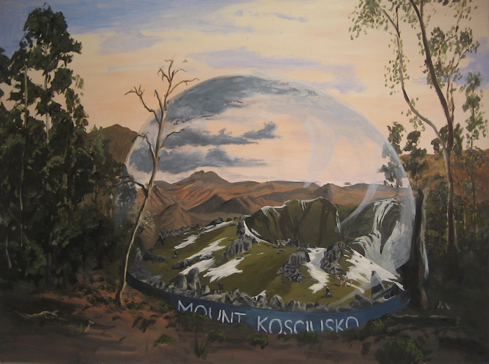 Mount Kosciuszko with Receding Snow Dome 2008, oil on board 90 x 120cm