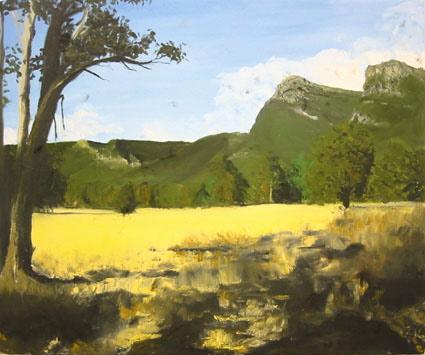 Landscape (with kangaroo hair) 2004, oil and Kangaroo hair on canvas 40 x 50cm